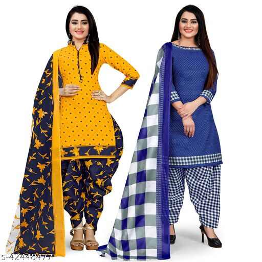 Rajnandini Yellow And Royal Blue Cotton Printed Unstitched Salwar Suit Material (Combo of 2)