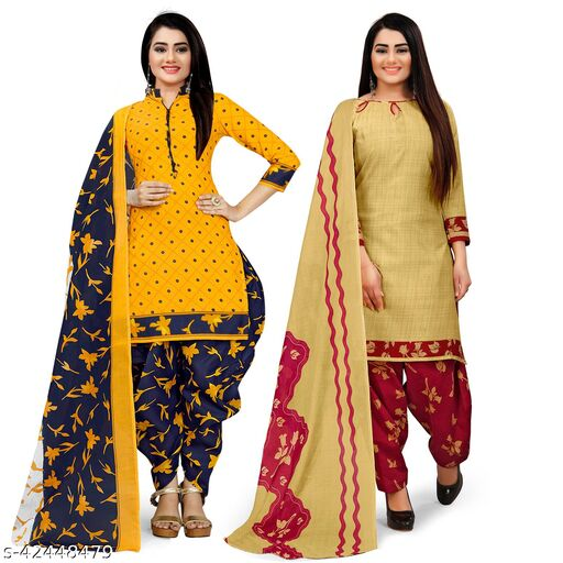 Rajnandini Yellow And Beige Cotton Printed Unstitched Salwar Suit Material (Combo of 2)