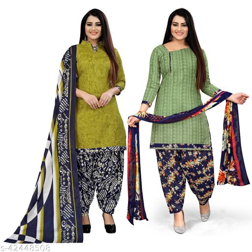Rajnandini Light Green And Green Cotton Printed Unstitched Salwar Suit Material (Combo of 2)