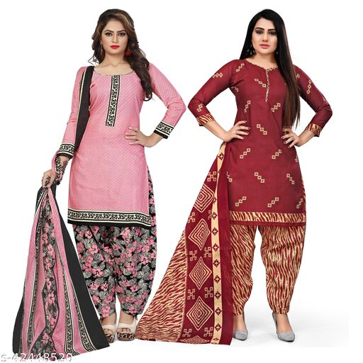 Rajnandini Light Pink And Maroon Cotton Printed Unstitched Salwar Suit Material (Combo of 2)