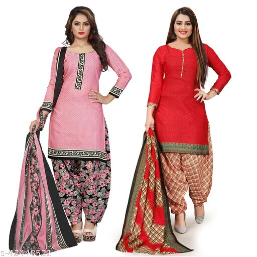 Rajnandini Light Pink And Red Cotton Printed Unstitched Salwar Suit Material (Combo of 2)