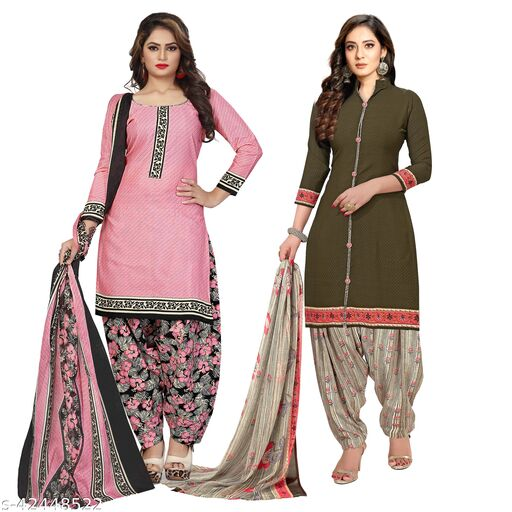 Rajnandini Light Pink And Olive Green Cotton Printed Unstitched Salwar Suit Material (Combo of 2)