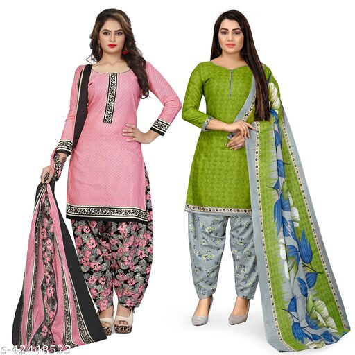 Rajnandini Light Pink And Green Cotton Printed Unstitched Salwar Suit Material (Combo of 2)