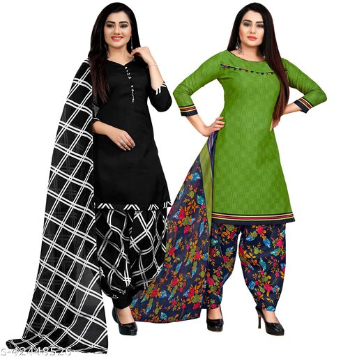 Rajnandini Black And Green Cotton Printed Unstitched Salwar Suit Material (Combo of 2)