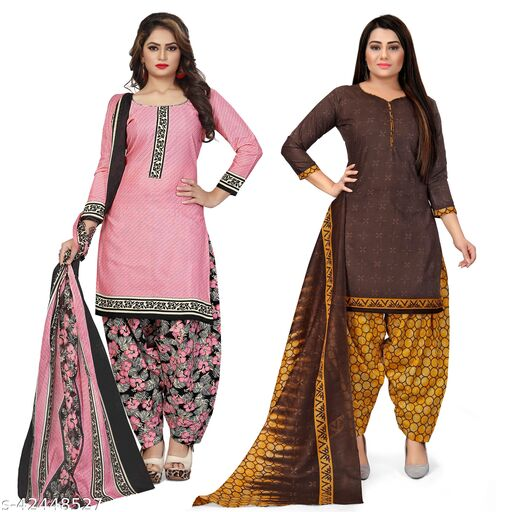 Rajnandini Light Pink And Brown Cotton Printed Unstitched Salwar Suit Material (Combo of 2)