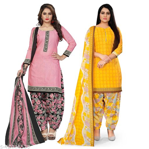 Rajnandini Light Pink And Yellow Cotton Printed Unstitched Salwar Suit Material (Combo of 2)