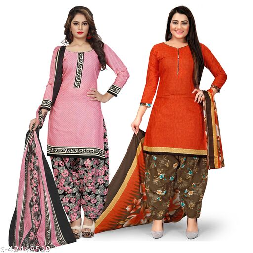 Rajnandini Light Pink And Orange Cotton Printed Unstitched Salwar Suit Material (Combo of 2)