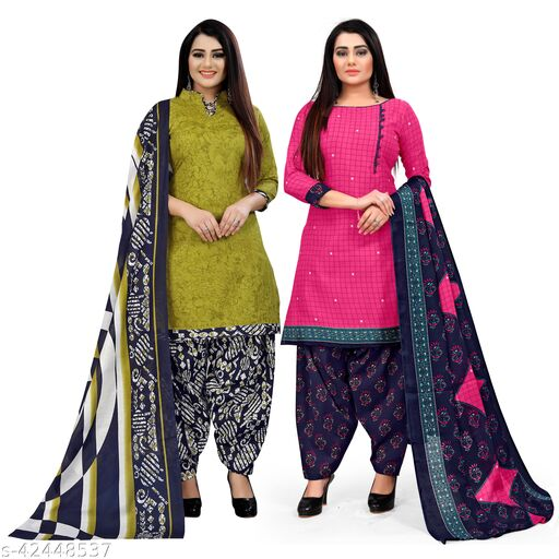 Rajnandini Light Green And Magenta Cotton Printed Unstitched Salwar Suit Material (Combo of 2)