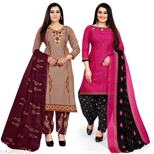 Rajnandini Beige And Magenta Cotton Printed Unstitched Salwar Suit Material (Combo of 2)