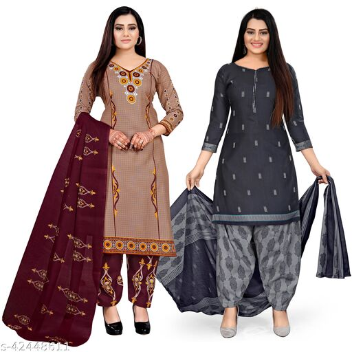 Rajnandini Beige And Navy Blue Cotton Printed Unstitched Salwar Suit Material (Combo of 2)