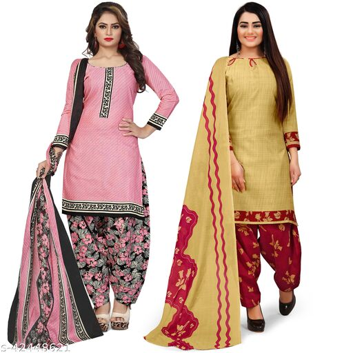 Rajnandini Light Pink And Beige Cotton Printed Unstitched Salwar Suit Material (Combo of 2)