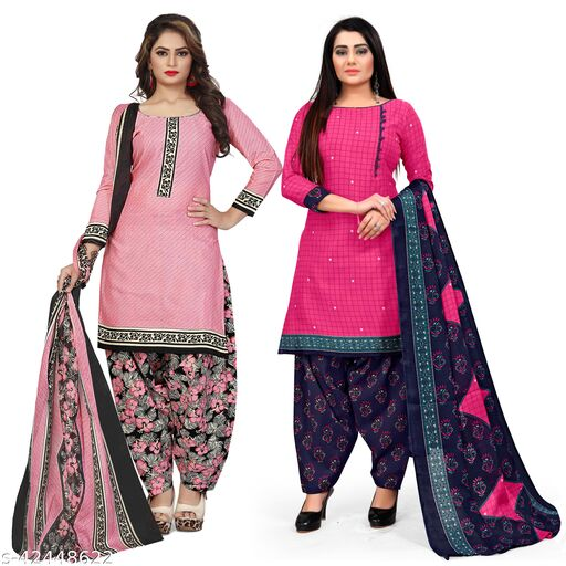 Rajnandini Light Pink And Magenta Cotton Printed Unstitched Salwar Suit Material (Combo of 2)