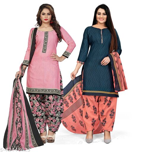 Rajnandini Light Pink And Navy Blue Cotton Printed Unstitched Salwar Suit Material (Combo of 2)