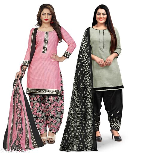 Rajnandini Light Pink And Grey Cotton Printed Unstitched Salwar Suit Material (Combo of 2)