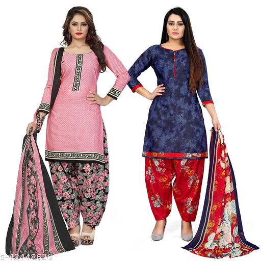Rajnandini Light Pink And Purple Cotton Printed Unstitched Salwar Suit Material (Combo of 2)