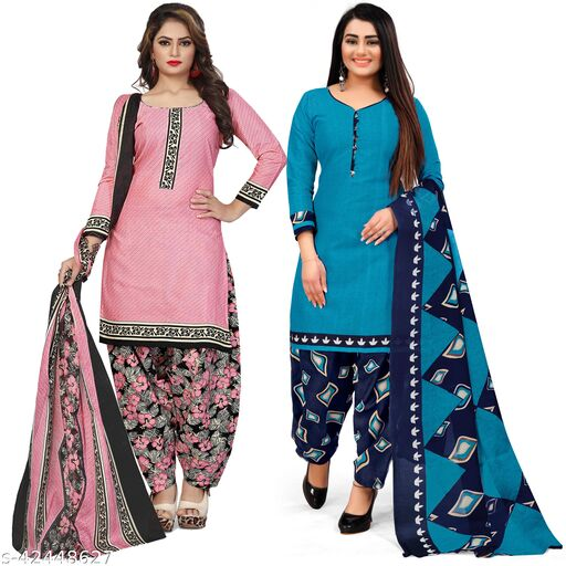 Rajnandini Light Pink And Sky Blue Cotton Printed Unstitched Salwar Suit Material (Combo of 2)
