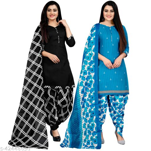 Rajnandini Black And Sky Blue Cotton Printed Unstitched Salwar Suit Material (Combo of 2)