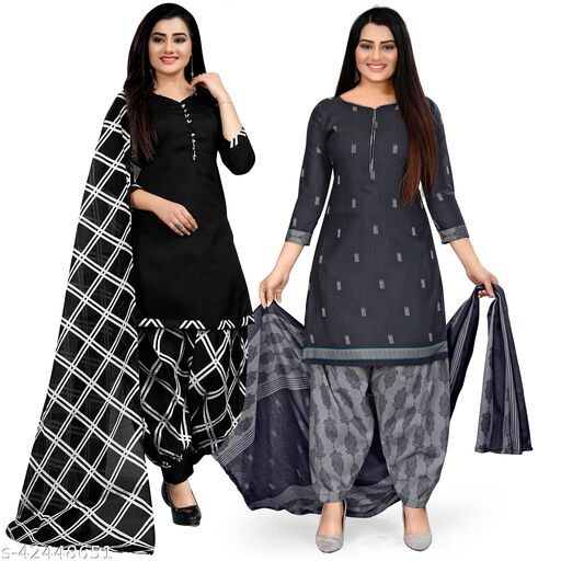 Rajnandini Black And Navy Blue Cotton Printed Unstitched Salwar Suit Material (Combo of 2)