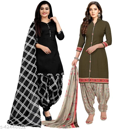 Rajnandini Black And Olive Green Cotton Printed Unstitched Salwar Suit Material (Combo of 2)