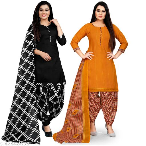 Rajnandini Black And Mustard Cotton Printed Unstitched Salwar Suit Material (Combo of 2)