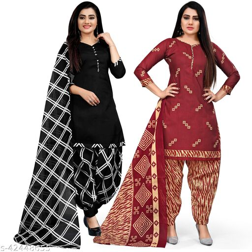 Rajnandini Black And Maroon Cotton Printed Unstitched Salwar Suit Material (Combo of 2)