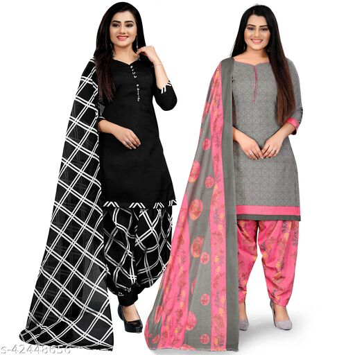 Rajnandini Black And Grey Cotton Printed Unstitched Salwar Suit Material (Combo of 2)
