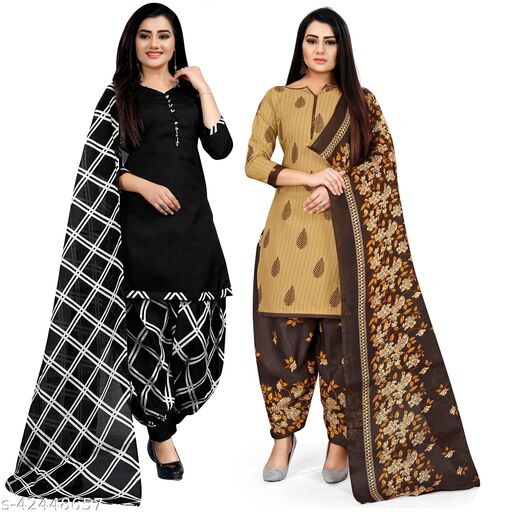 Rajnandini Black And Beige Cotton Printed Unstitched Salwar Suit Material (Combo of 2)