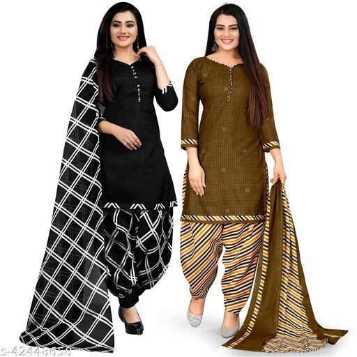 Rajnandini Black And Brown Cotton Printed Unstitched Salwar Suit Material (Combo of 2)