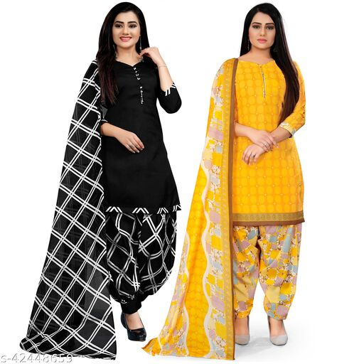Rajnandini Black And Yellow Cotton Printed Unstitched Salwar Suit Material (Combo of 2)