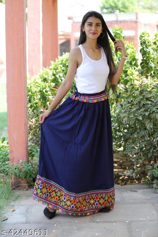 Trandy Pum Pum Embroidery Border Soild Rayon Skirt Up to XXL size