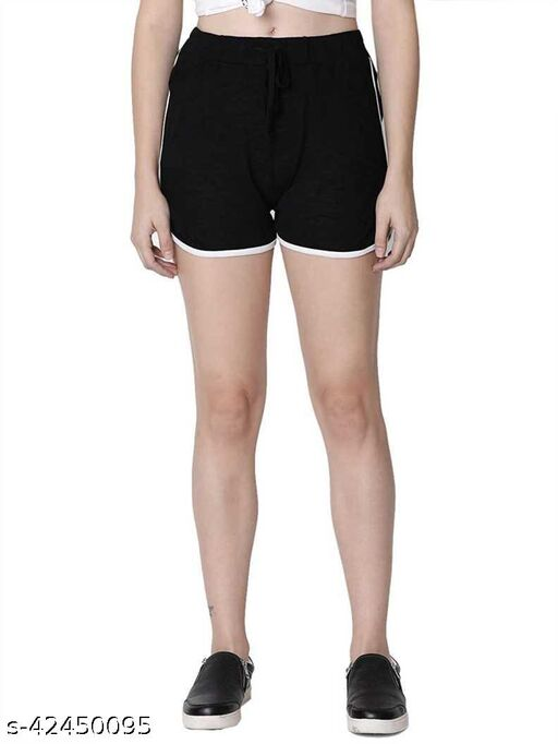 Women Solid Casual Comfortable Shorts Black