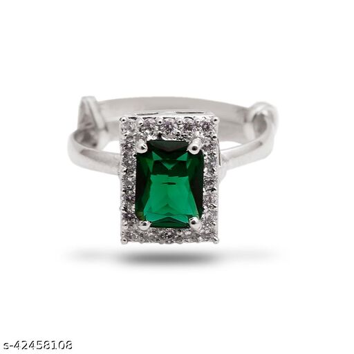 Womens Monalisa Stone Silver Plated Green Ring (Adjustable ring(16)