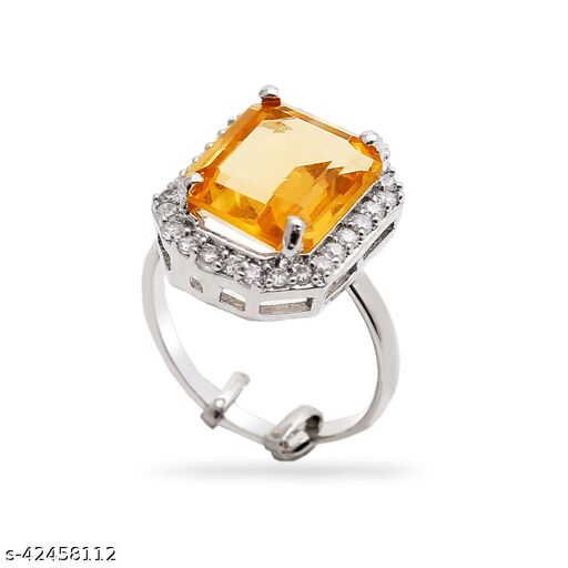 Womens Monalisa Stone Silver Plated Yellow Ring (Adjustable ring(13)