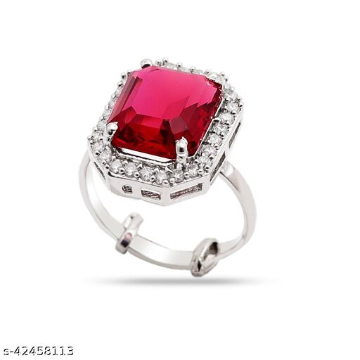 Womens Monalisa Stone Silver Plated Red Ring (Adjustable ring(15)