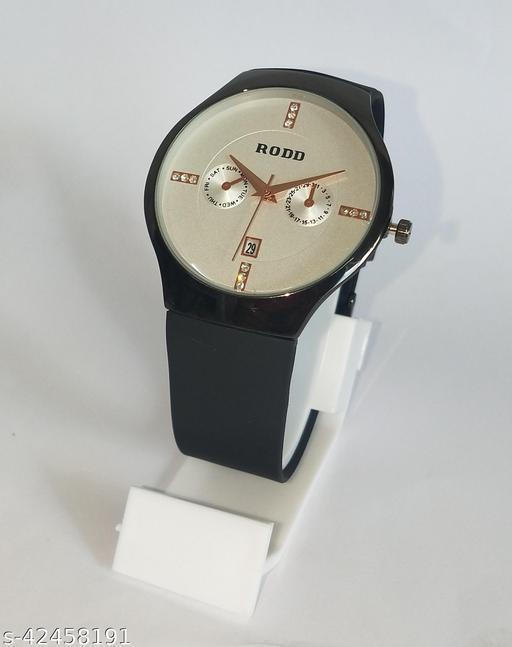Bond Street Exclusive Date Display Black highly Polished case Cream Dial Black Belt Analoge Watch - For Men