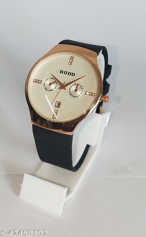 Bond Street Exclusive Date Display Copper highly Polished case Cream Dial Black Belt Analoge Watch - For Men
