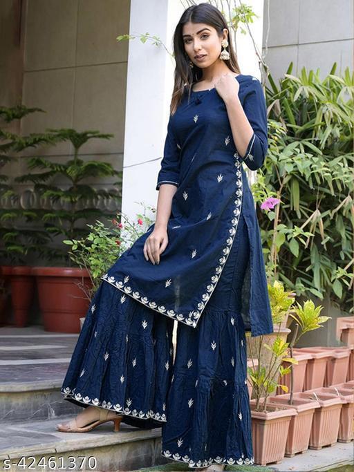 Fashion Blue Cotton Kurta Set