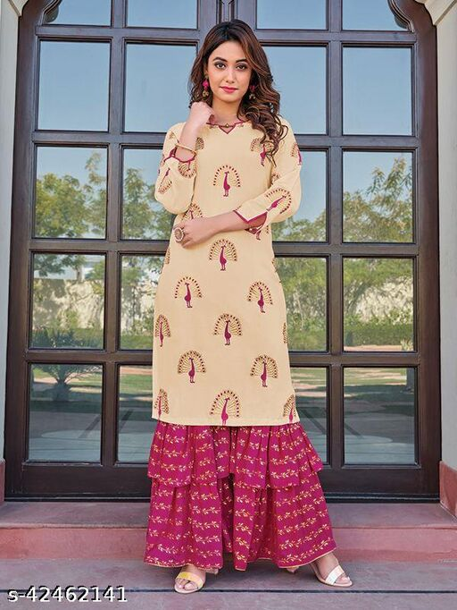 Women Rayon A-line Embroidery Long KurtiWith Sharara