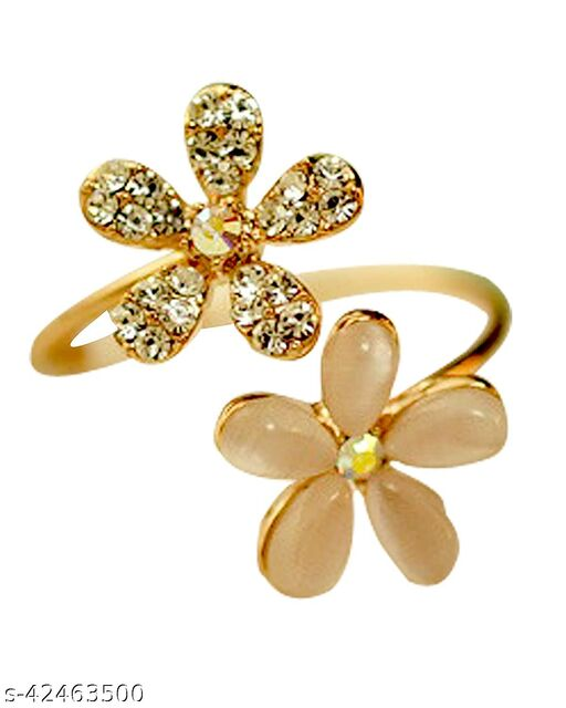 Golden Double Flower Adjustable Crystal Ring for Girls and Women