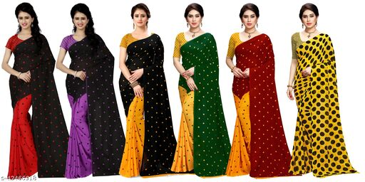 Anand Sarees, Set of 6, Daily Wear, Printed, georgette sarees with blouse piece