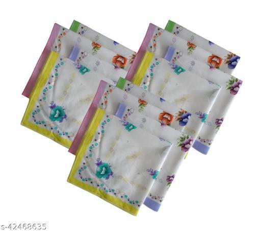 S4S® 12 Piece Pack Women's 100% Soft Cotton Big Size Floral Handkerchief/Ladies Hankies (Size_36CM X 36CM)