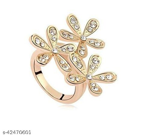 Crystal Golden Snowflake Design Ring for Girls and Women