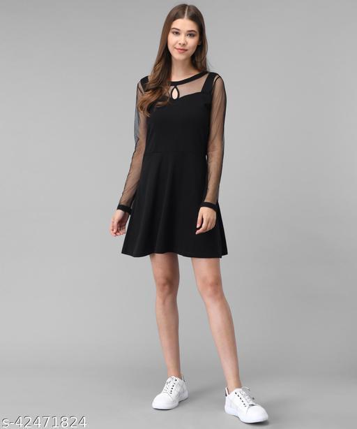 Vivient Women Black Plain Short Hosery Dress