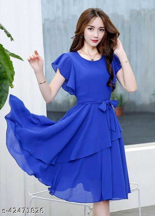 Women Solid Royal Blue Knee length Georgette Dress