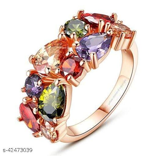 Colorful Flowerets Design Swiss Golden Sparkling Ring for Girls and Women