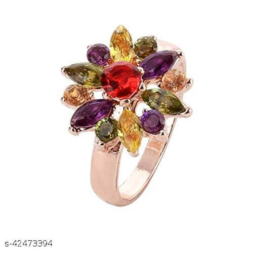 Colorful Flowerets Design Swiss Golden Sparkling Metal Ring for Girls and Women