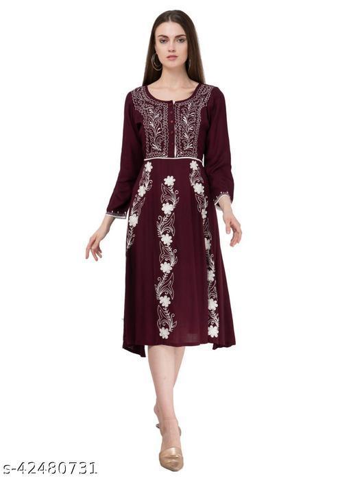 SAAKAA Women's Rayon Brown Embroidery Dress