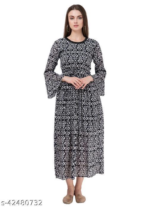SAAKAA Women's Cotton Navy Blue Printed Dress