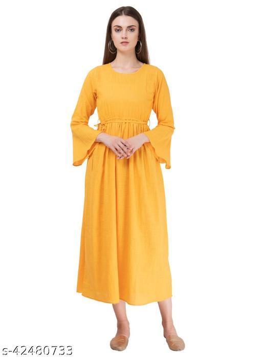 SAAKAA Women's Cotton Yellow Solid Dress