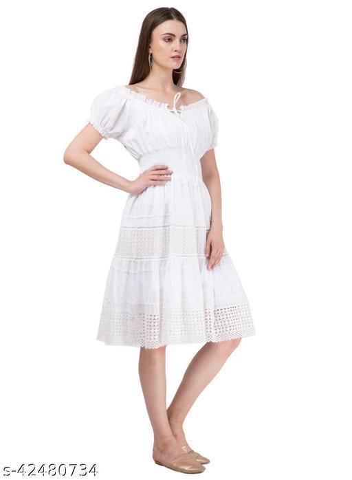 SAAKAA Women's Cotton Off White Solid Dress
